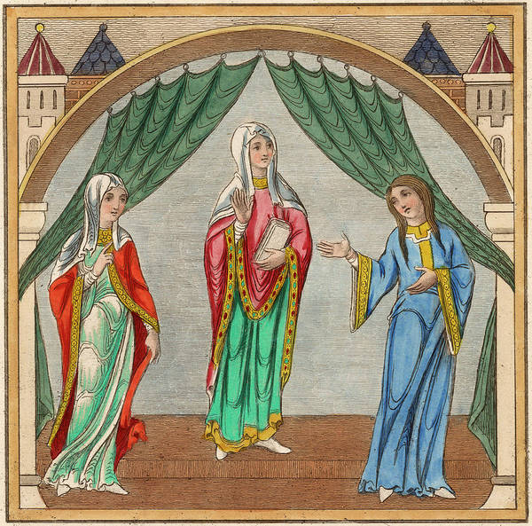 Wall Art - Drawing - Three Noblewomen           Date 12th by Mary Evans Picture Library