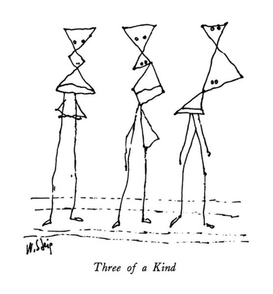 Straight Ahead Wall Art - Drawing - Three Of A Kind by William Steig