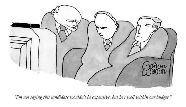 Saying Drawing - Three Old Guys In Suits Are Watching A Tv by Gahan Wilson
