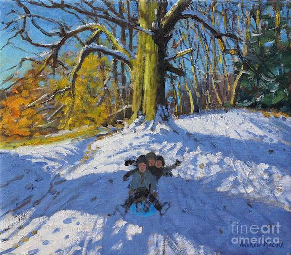 Sledge Wall Art - Painting - Three On A Sledge Allestree Park Derby by Andrew Macara