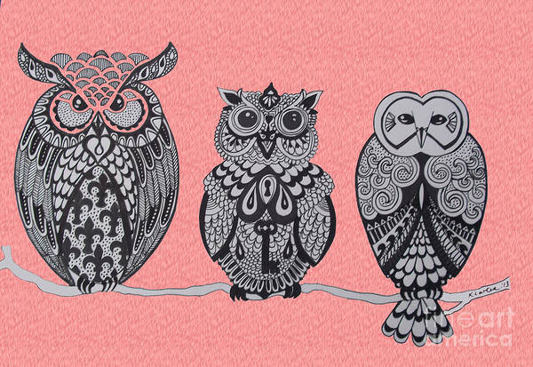 Wall Art - Drawing - Three Owls On A Branch Pink by Karen Larter
