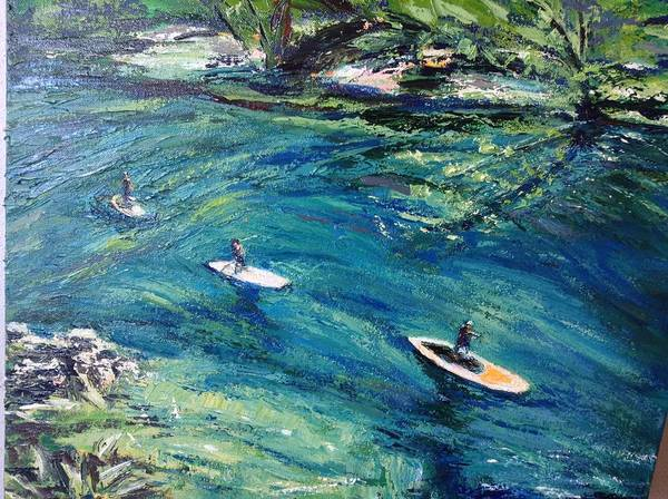 Central Texas Painting - Three Paddleboarders by Connie Taylor