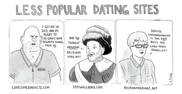 Three Panel Cartoon Of Online Dating Profiles Art Print