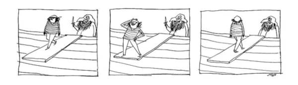 Fashion Drawing - Three Panels Depicting A Sailor Walking The Plank by Edward Steed