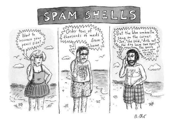 Beaches Drawing - Three Panels Of People In Swimsuits On The Beach by Roz Chast