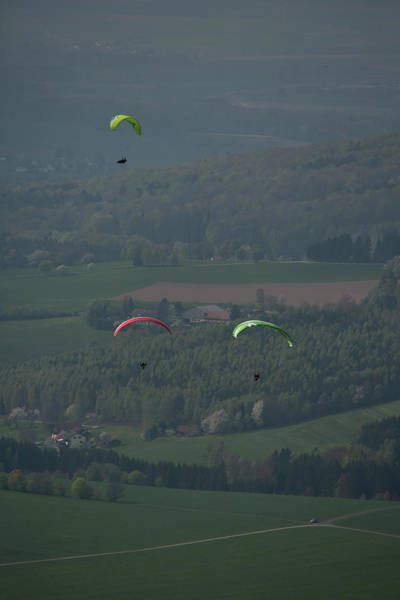 Hessen Photograph - Three Paragliders From Top In Front by Sebastian Kujas