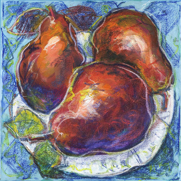 Painting - Three Pears On A White Plate by Maxim Komissarchik