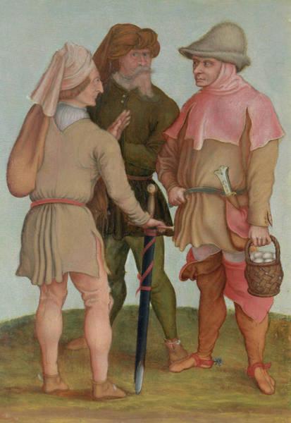 Conversation Photograph - Three Peasants, 16th Or 17th Century Oil On Panel by Albrecht Durer or Duerer