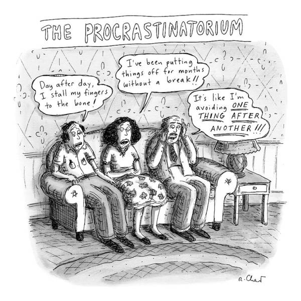 Complain Drawing - Three People Sit On A Couch Next To An End Table by Roz Chast