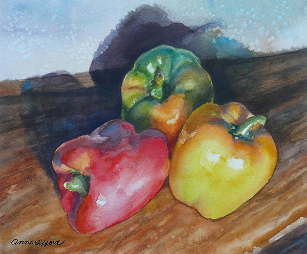 Wall Art - Painting - Three Peppers by Anne Gifford