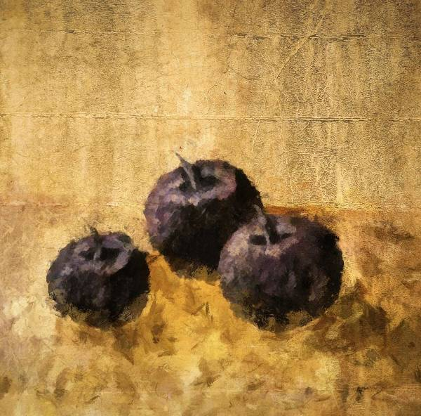 Wall Art - Painting - Three Plums Still Life by Michelle Calkins