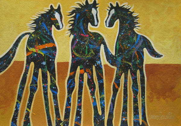 Wall Art - Painting - Three Ponies by Lance Headlee