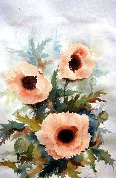 Painting - Three Poppies by William Renzulli
