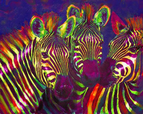 Neon Blue Digital Art - Three Rainbow Zebras by Jane Schnetlage