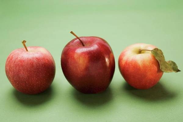 Wall Art - Photograph - Three Red Apples, Varieties Stark And Elstar by Foodcollection