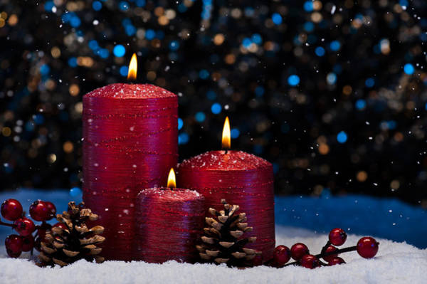 Photograph - Three Red Candles In Snow  by U Schade