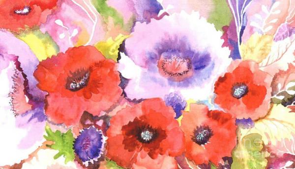 Violet Painting - Three Red Poppies by Neela Pushparaj