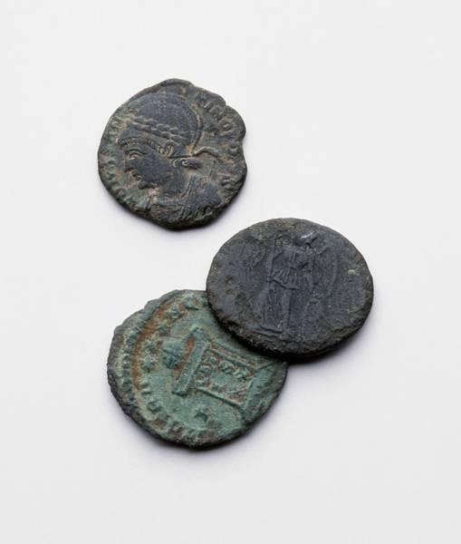 Archaeology Photograph - Three Roman Coins by Dorling Kindersley/uig