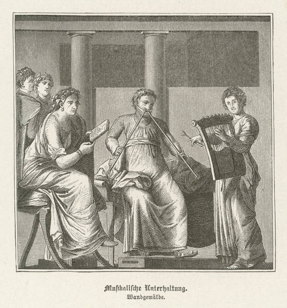 Trio Drawing - Three Romans Make Music - One  Playing by Mary Evans Picture Library
