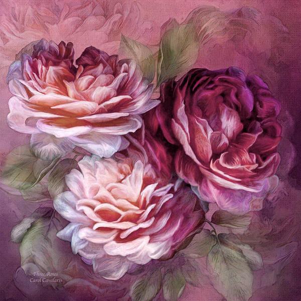 Mixed Media - Three Roses - Burgundy by Carol Cavalaris