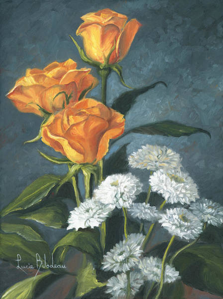 Painting - Three Roses by Lucie Bilodeau