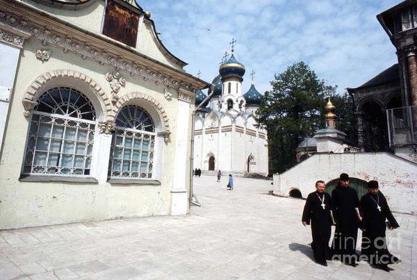 Orthodox Photograph - Three Russian Orthodox Priests At Zagorsk Monestery 1967  by The Harrington Collection