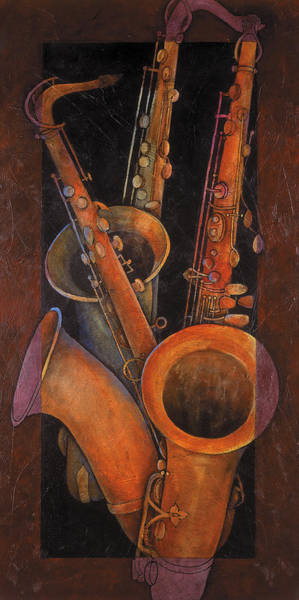 Wall Art - Painting - Three Sax by Susanne Clark