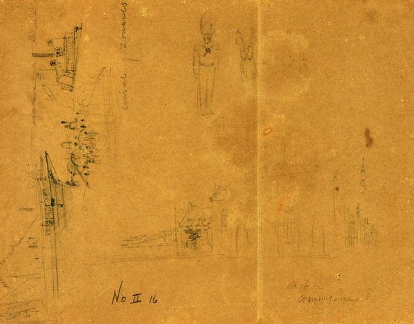 Wall Art - Drawing - Three Sketches Including Arrival Of Zouaves, City Or Town by Quint Lox