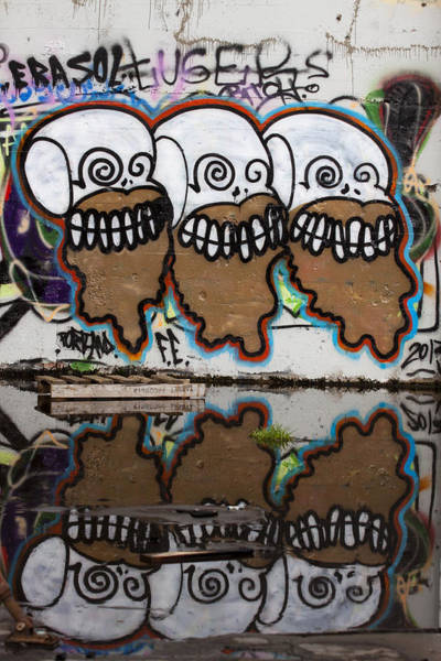 Wall Art - Photograph - Three Skulls Graffiti by Carol Leigh