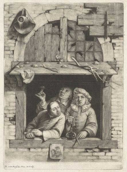 1715 Drawing - Three Smokers In A Window, Nicolaes Van Haeften by Artokoloro