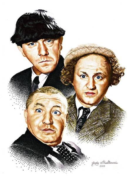 People Drawing - Three Stooges by Judy Skaltsounis