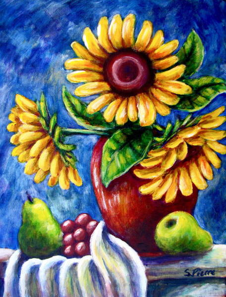 Three Sunflowers And A Pear Art Print