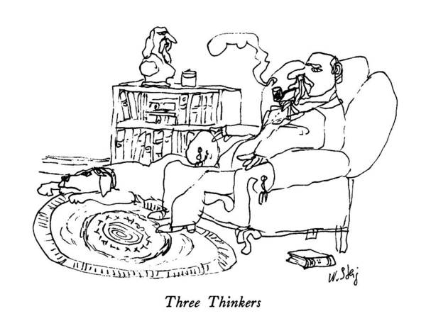 No Smoking Wall Art - Drawing - Three Thinkers by William Steig