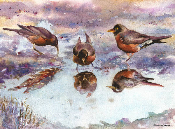 Wall Art - Painting - Three Thirsty Robins by Anne Gifford
