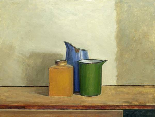 Enamel Wall Art - Painting - Three Tins Together by William Packer