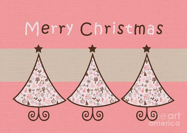Wall Art - Digital Art - Three Trees Pink 02 - Merry Christmas Greeting Card by Aimelle