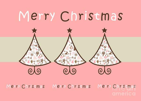 Wall Art - Digital Art - Three Trees Pink - Merry Christmas Greeting Card by Aimelle