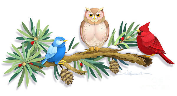 Digital Art - Three Watchful Friends by Randy Wollenmann