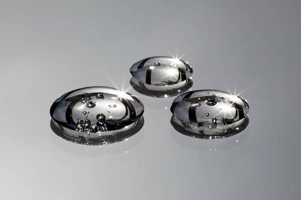 Drops Of Water Photograph - Three Water Drops With Bubbles In Them by Ralf Hiemisch
