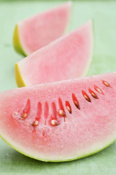 Wall Art - Photograph - Three Wedges Of Watermelon by Foodcollection
