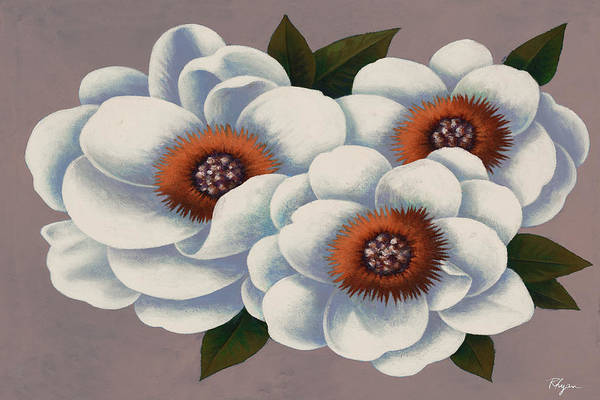 Wall Art - Painting - Three White Flowers by Vivien Rhyan