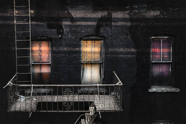 Photograph - Three Windows And Ladder - As Seen From The Manhattan Bridge by Gary Heller