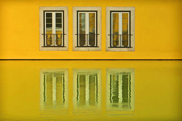 Three Windows Reflecting In The Water Art Print