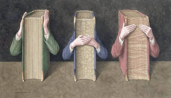 Wall Art - Photograph - Three Wise Books, 2005 Wc On Paper by Jonathan Wolstenholme