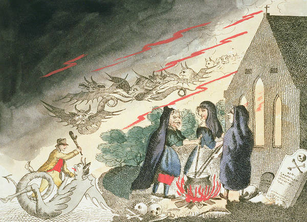 Wall Art - Drawing - Three Witches In A Graveyard, C.1790s by English School