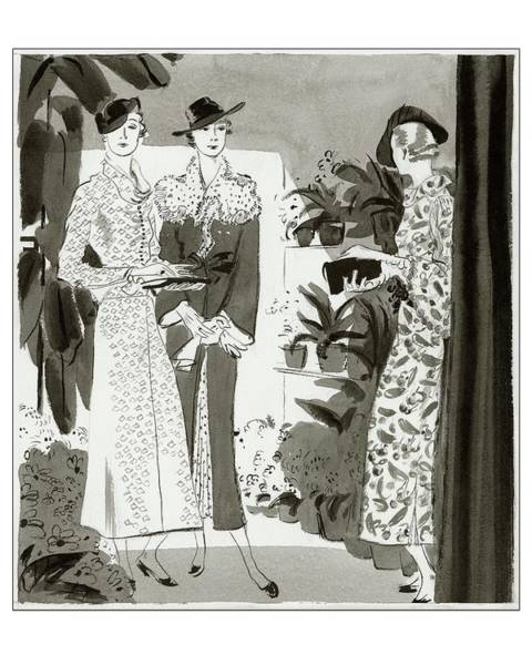 Vogue Digital Art - Three Woman In A Garden Wearing Designer Dresses by Jean Pages