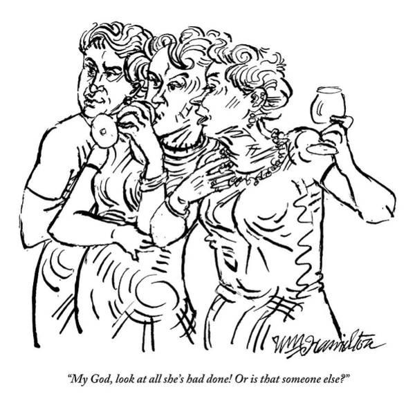 Vanity Drawing - Three Women Gossip by William Hamilton