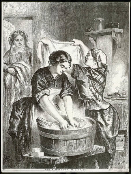Wall Art - Drawing - Three Women Hard At Work On  Washing Day by Mary Evans Picture Library