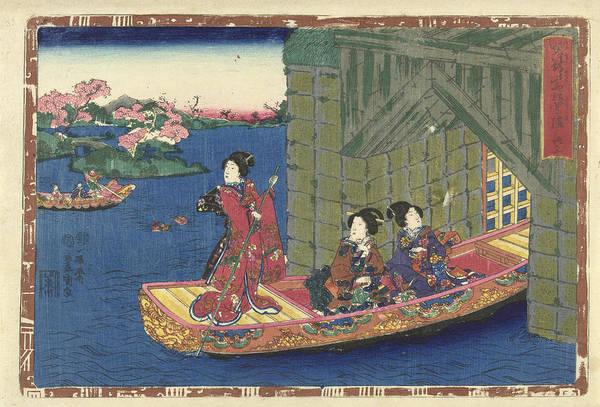 Three Women In A Rowing Boat Sailing Through Tunnel Art Print