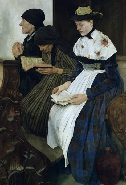 Wooden Church Wall Art - Painting - Three Women In Church by Wilhelm Maria Hubertus Leibl
